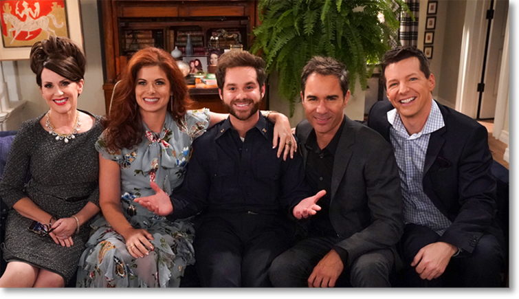Will and Grace Ryan Pinkston on sofa with cast